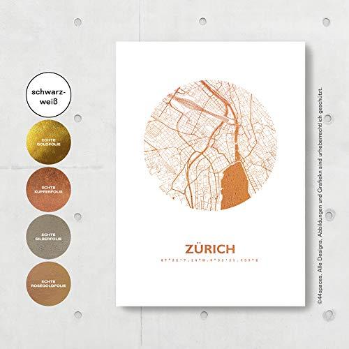 Zürich Schweiz Karte - Personaliserte Stadtplan Poster Rund in S/W Rose Gold Silber Kupfer - A4 A3 - Stilsichere Wandbilder Geschenke Arbeitszimmer Wohnzimmer Andenken Heimatstadt