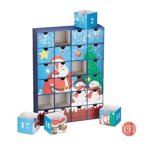 Relaxdays, Azul, 51 x 37 x 9 cm Calendario Adviento para Rellenar 24 Cajas, Cartón