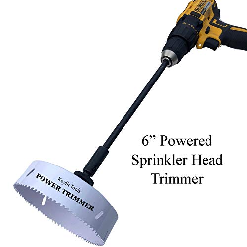 Keyfit Tools Power Sprinkler Head Trimmer 6 Inch Diameter Trim Your Rotors & Spray Heads in Seconds! for Overgrown Sprinklers & Clean Appearance Adjustment Replacement & Raising Drill Attachment