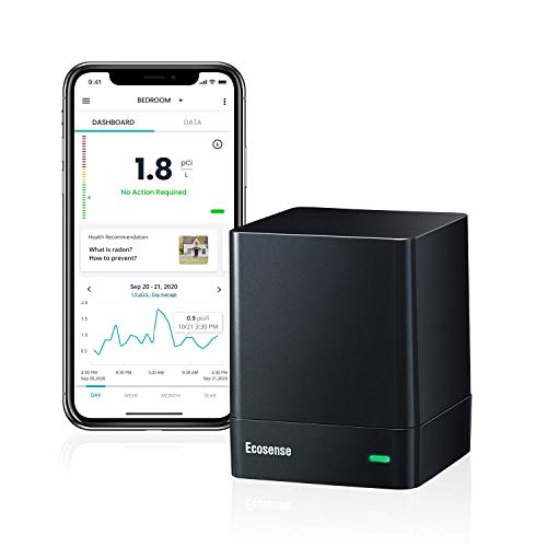 Radon Gas Detector, EcoQube EQ100 by Ecosense, Wi-Fi Enabled Real Time Continuous Monitoring, Compact Size, Easy Set up & Simple to Use