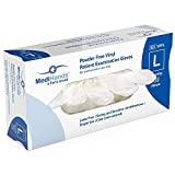MediHands Clear Vinyl Powder Free Patient Examination Gloves | Disposable | Latex Free | Large - Pack of 100