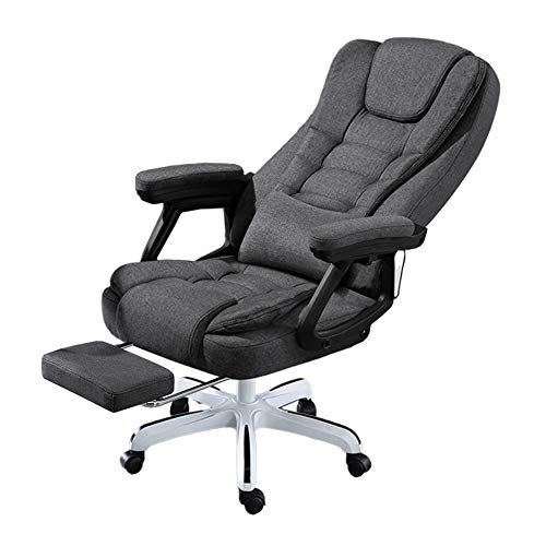 TopJiä Ergonomic Massage Office Chair with Armrests and Footrest,Adjustable Height Desk Chair 145° Recline and 360° Rolling Swivel,Executive Chair with Lumbar Support, Fabric Gray