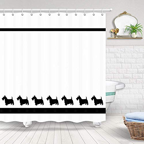 GoEoo Dog Lovers Sketch Style Hand-Painted Scottish Terrier Scottie Dog Jack Russell Terrier Graffiti Easy to Clean Shower Curtain for Bathroom Bathroom Hotel Curtains