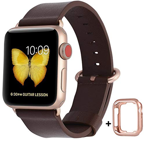 JSGJMY Compatible with Apple Watch Band 38mm 40mm 42mm 44mm Women Men Genuine Leather Strap for iWatch Series SE 6 5 4 3 2 1(Dark Brown+Match SE/6/5/4/3 Gold Aluminum,42mm/44mm S/M)