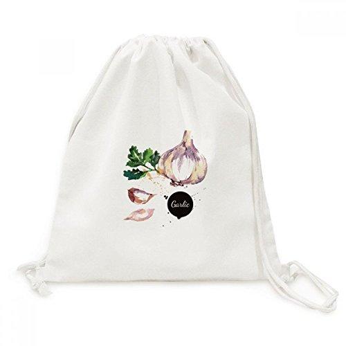 DIYthinker Knoblauch-Gemüse Leckere Gesunde Aquarell Leinwand Rucksack-Reise Einkaufstaschen