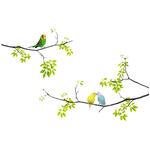 1 stuk muursticker vogels en stokken op boomschors kinderen woonkamer slaapkamer beweegbare muursticker 20 x 70 cm