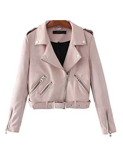 ShiFan Faux Wildleder Jacke Damen Übergangsjacke Winterjacke Revers Reißverschluss Einfarbig Oberbekleidung Mit Gürtel Pink XS