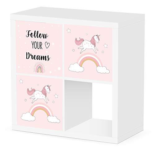 Debe Juego de cajas de Kallax para habitación infantil, diseño de doble cara, 33 x 33 x 38 cm, plegable, caja para juguetes, 3 unidades Kallax Box Set (unicornio sueño)