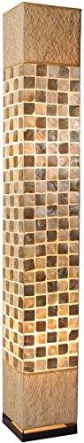Guru-Shop Stehlampe/Stehleuchte Caracas- in Bali Handgemacht aus Naturmaterial, Kokosfaser, Capiz/Perlmutt, Muschelscheiben, 150x22x22 cm, Dekolampe Stimmungsleuchte