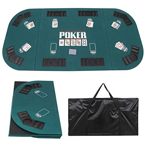 JungleA Folding Poker Table Top 71 x 35 Inches Portable Poker Cover Topper 8 Player for Texas Holdem Casino Game Night Oval Green