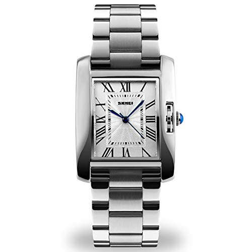 Silver Analog Watch for Women, Ladies Fashion Waterproof Wrist Dress Quartz Watches with Stainless Steel Band, Water Resistant Watch-Silver