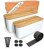 DARKOH ELEMENTS® Kabelbox Weiß [2er-Set   Groß & Medium] aus ABS-Kunststoff mit Bambusdeckel &...