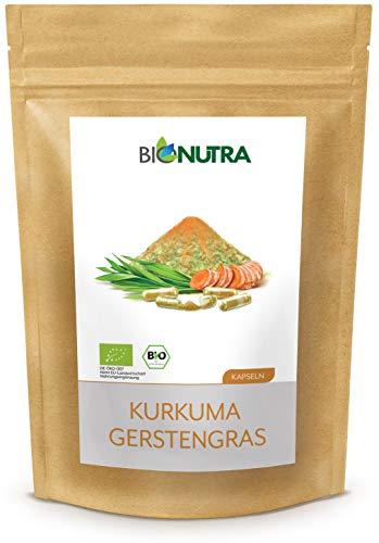 BioNutra® Kurkuma-Gerstegras capsules biologisch 240 x 700 mg, Duitse GMP-productie, biologisch kurkumapoeder (Curcuma longa) met biologisch gerstegras, zonder toevoegingen