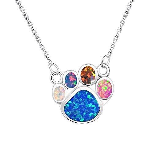 KELITCH Halsketten Zum Frau Männer Mehrfarben Opal Hund Pfote Drucken Halskette 925 Sterling Silber Überzogen Halsband Zum Mädchen Personalisiert
