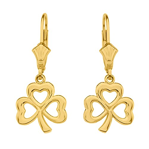 Good Luck Three Leaf Heart Clover Leverback Earrings in 10k Yellow Gold