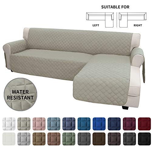 Easy-Going Sofa Slipcover L Shape Sofa Cover Sectional Couch Cover Chaise Lounge Cover Reversible Sofa Cover Furniture Protector Cover for Pets Kids Children Dog Cat (X-Large, Beige/Beige)