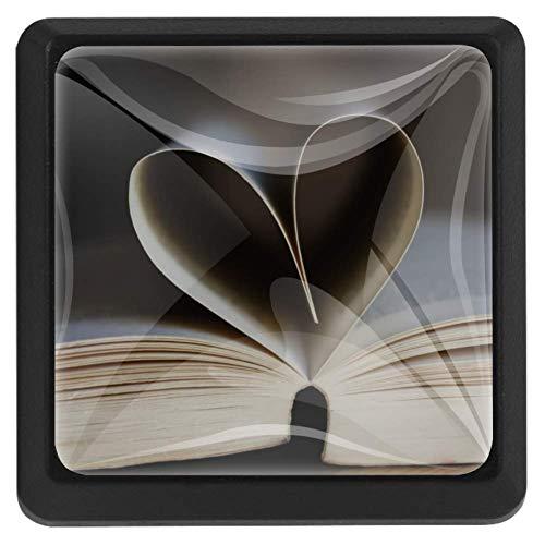 Gekleurde kat schilderij vierkante lade knoppen trekken handgrepen 3 Pack gebruikt voor keuken, dressoir, deur, kast Modern design 37x25x17mm/1.45x0.98x0.66in Page of Love