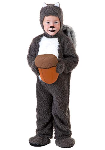 Toddler Squirrel Costume Furry Squirrel Costume for Toddlers with Acorn 4T Gray
