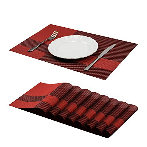 Jujin Table Mats Set of 8 Non-Slip Washable PVC Heat Resistant Placemats for Dining Table Red