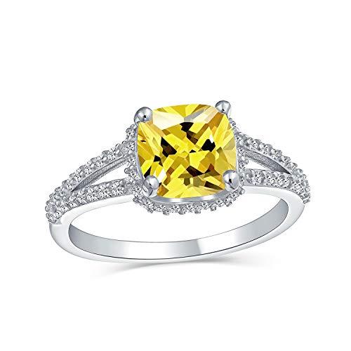 3CT brillante amarillo canario AAA talla cojín CZ anillo de compromiso para las mujeres cúbica Zirconia split vástago de plata de ley
