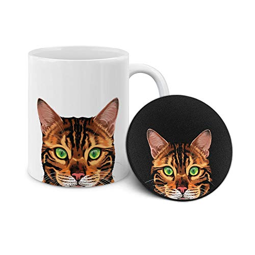 WIRESTER 11 OZ Ceramic Coffee Mug Tea Cup with Neoprene Coaster, 2 Piece Set - Spotted Brown Bengal Cat