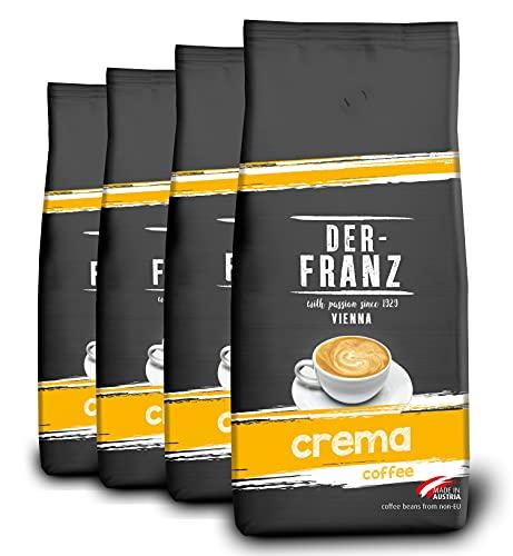 DER-FRANZ - Café crema, granos enteros, 1000 g (paquete de 4)