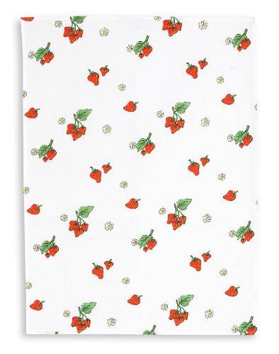 KRACHT, Halbleinen Geschirrtuch, Druckmotiv Erdbeeren, Format 50/70
