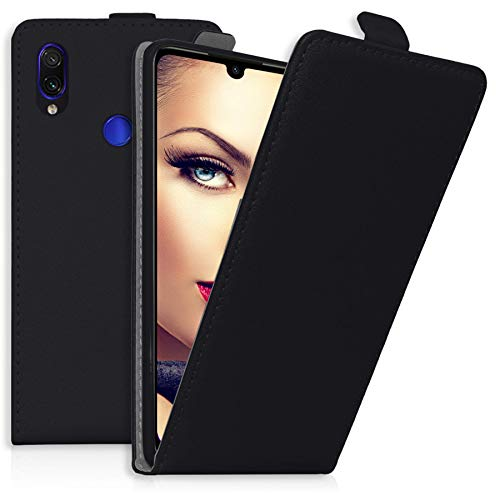 mtb more energy® Flip-Hülle Tasche für Xiaomi Redmi Note 7 / Note 7 Pro (6.3'') - Schwarz - Kunstleder - Schutz-Tasche Cover Hülle