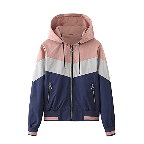 DRAGONHOO Ladies Hooded Jacket Outdoor Raincoat Colorblock Drawstring Jacket mens jacket boys coats Pink M