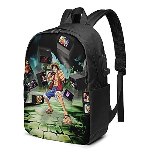 Mochila anime One Piece Monkey D. LuffyBackpack con carga USB y puerto de auriculares con correa de hombro acolchada transpirable para la escuela/el trabajo/viajes niños niñas adultos