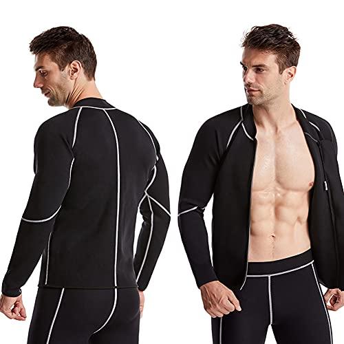 WUHX Tuta Sauna per Uomo Manica Lunga Camicia da Allenamento con Cerniera Giacca Neoprene Suit Corpo per Addominale Dimagrante,Nero,XL