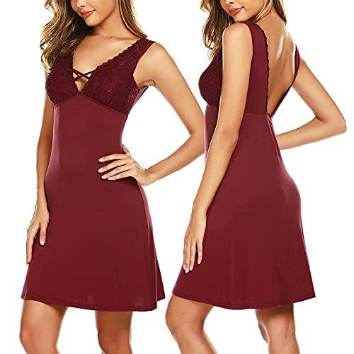Ekouaer Sexy Nightgowns for Women Nighty Sleepwear Dress V Neck Nightwear Sleepwear Chemise (Wine Red, Large)