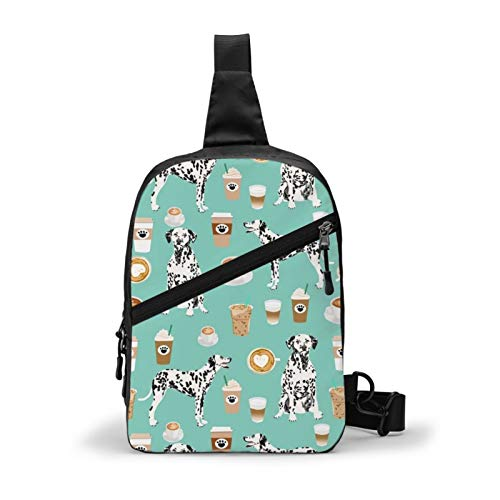 Ultra Lightweight Sling Bag Backpack Chest Day Bag Multipurpose Anti-Theft Backpacking for Outdoor Cycling Hiking Travel, Tool Backpak (Dalmatians Cute Mint Coffee Best Dalmatian Dog)