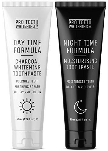 Dentifrice Jour & Nuit complet pour soins bucco-dentaires - Charbon actif blanchissant les dents le jour et hydratant/anti-dessèchement de la bouche la nuit - Fabriqué par Pro Teeth Whitening Co.