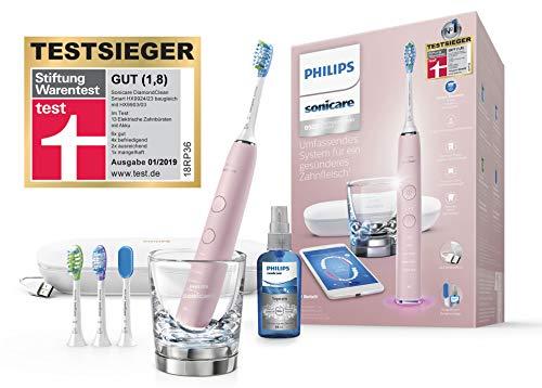 Philips Sonicare DiamondClean Smart Schallzahnbürste HX9924/23 mit 5 Putzprogrammen, 3 Intensitäten, Ladeglas, USB-Reiseetui & 4 Bürstenköpfen - schonendes Putzen dank Drucksensor – Pink