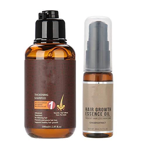 100ml Hair Care Thickening Shampoo+20ml Hair Growth Essence Oil Liquid Hair Loss Treatment for Women and Men