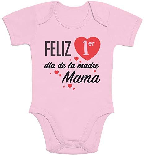 Body de Manga Corta para bebé - Regalo Feliz Primer Mamá día de la Madre 6-12 Meses Rosa