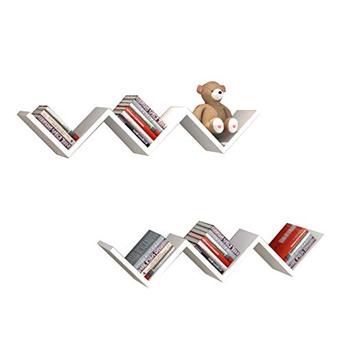 FEI Étagères flottantes, étagère murale forme W support mural étagère de rangement décorative étagère de 2 (Couleur : Bleu)