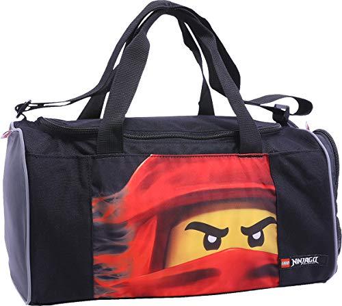 BBM Lego Bags Sporttasche NINJAGO Kai mit Schuhfach und Nassfach, Reisetasche für Kinder, Schulsporttasche mit Lego Motiv, Gym Tasche aus Polyester, Weekender für Schüler, Umhängetasche in schwarz