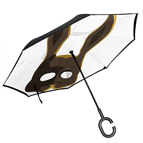 Braune Spllicer Bunny Maske Bioshock doppelschichtiger umgekehrter Regenschirm für Auto Rückwärtsklappbar auf der Rückseite C-förmige Hände – leicht und Winddicht