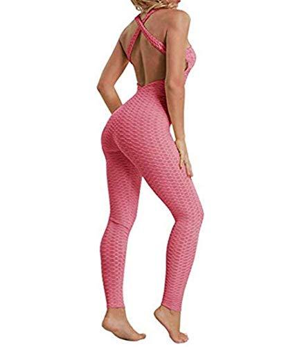 Hertsen Mono de mujer de una pieza para deporte, yoga, correr, fitness, entrenamiento, gimnasio, pantalones apretados