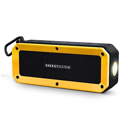 Energy Sistem Outdoor Box Bike (Bluetooth, Freisprechfunktion, 10 W, MicroSD, FM Radio, Audio-In, spritzwassergeschützt und schlagfest, Taschenlampe, Zubehör)- Gelb