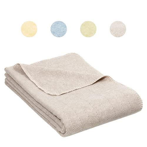 RIEMA® NEU weiche Decke aus Bio-Baumwolle – Bio Kuscheldecke (KBA) für den Sommer in Taupe/beige mit Oeko-TEX Zertifikat – kuschelige Decke Baumwolle Made in Germany – 140x200 cm (beige)