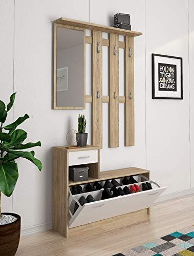 Mobile Belem Mobiletto da Ingresso con Scarpiera Appendiabiti e Specchio Arredo Arredamento Corridoio Entratina 97 x 35 x 25 cm (Bianco e Quercia)