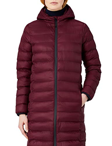 Amazon-Marke: MERAKI Damen Lange Steppjacke mit Kapuze, Rot (Burgundy), 40, Label: L