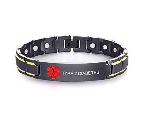 VNOX Customized Personalisierte Schwarz Rot Symbol Edelstahl Magnetfeldtherapie Heil Alarm Armband für Männer,Type 2 Diabetes