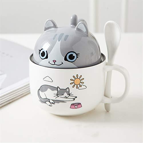 RZHIXR Taza De Cerámica con Forma De Animal, Taza De Café con Cuchara, Dos Tazas En Una, Taza De Agua para Niñas Y Niños 350ml