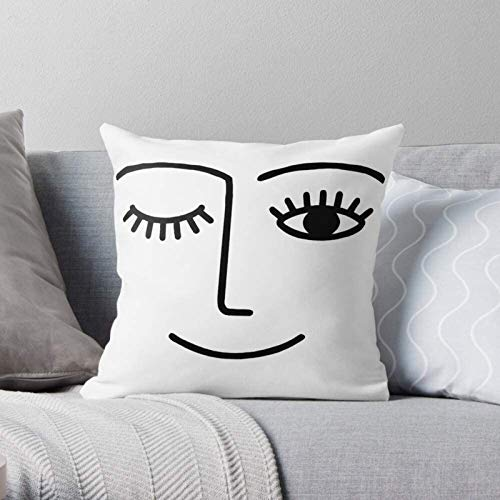 Kedishdar Nose Lips Smiley Smile Winky Wink Face Modern Decorative & LightweightSoft Polyester Throw Pillow Cases for Bedroom/Living Room/Sofa Chair & Car,16''×16''
