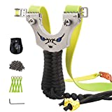 Luniquz Wrist Slingshot with Ammo, Wrapped Handle Wrist Rocket Sling Shot Catapult for Hunting, High Velocity, Includes 4 Rubber Bands, 100 Clay Ammo, Carry Case, 2 Sights