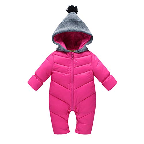 Toddlers Snowsuit Winter Baby Boys Rompers Warm Overalls For Baby Girls Newborn Cotton-Padded Clothes Pink 12M